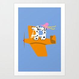 Airplane and Dalmatians Art Print