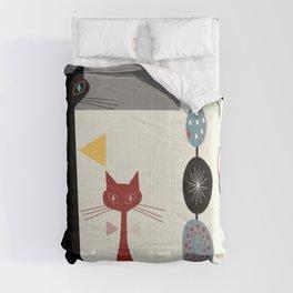 Mid-Century Modern Art Cats Comforters