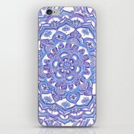 Lilac Spring Mandala - floral doodle pattern in purple & white iPhone Skin
