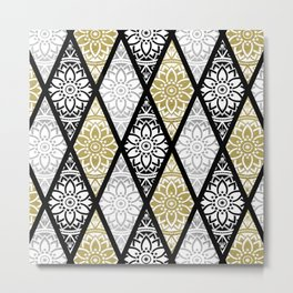 Diamond Mandalas Gold Silver Black Metal Print