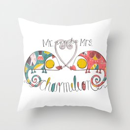 Mr. and Mrs. Charmeleon Throw Pillow