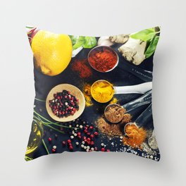 Herbs and spices selection Throw Pillow
