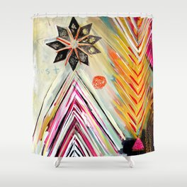 """True North"" Original Painting by Flora Bowley Shower Curtain"