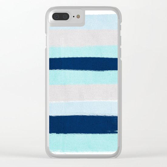 Stripes minimal painted stripe pattern blue indigo grey nautical nursery decor Clear iPhone Case