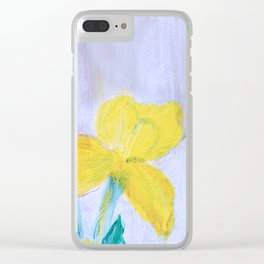 yellow summer iris 2 . Gift Ideas for Him and Her Clear iPhone Case