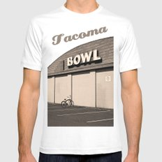 Out bowling MEDIUM White Mens Fitted Tee