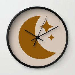 Moon & Stars - Desert Orange Wall Clock