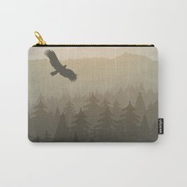 mountain forest in fog and sunrise with stars Carry-All Pouch