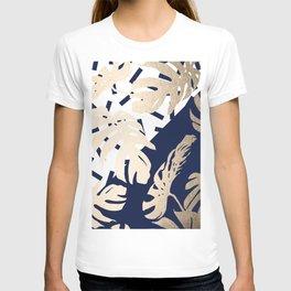 Simply Tropical Nautical Navy Memphis Palm Leaves T-shirt