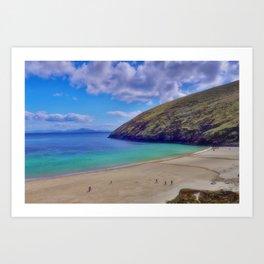 Walkers on Keem Beach, Achill Island feted by the green Atlantic Ocean. Art Print