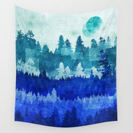 The Blue Forest Moon Wall Tapestry