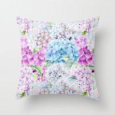 Multicolor Watercolor Hydrangea dream pattern Throw Pillow