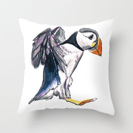 """Hop"" Puffin landing by Cassie Soehnlen of 140 North Arts Throw Pillow"