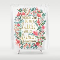 cat coquillette Shower Curtains featuring Little & Fierce by Cat Coquillette