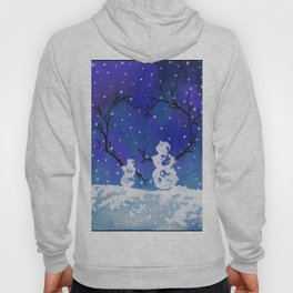 The Heart of Snowmen on a Winter Snowfall Day by annmariescreations Hoody
