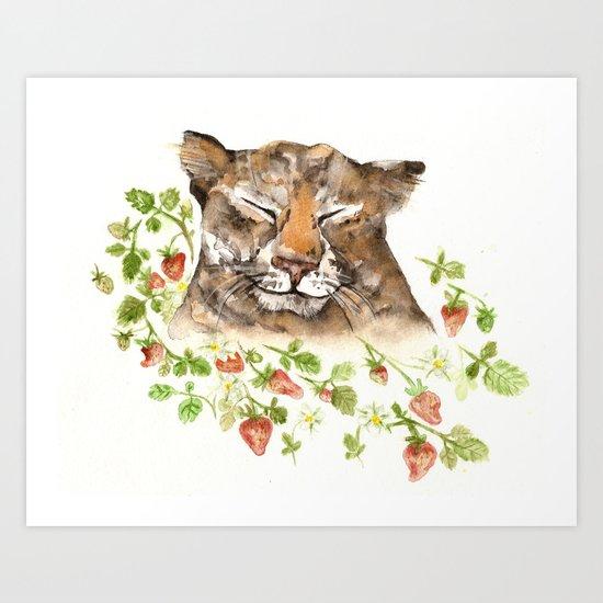 Tiger in Strawberries Art Print