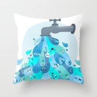 splash Throw Pillows featuring Splash by Lienke Raben