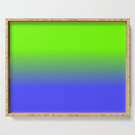 Neon Blue and Neon Green Ombré  Shade Color Fade Serving Tray