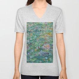 colorful flower filed Unisex V-Neck
