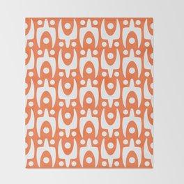 Mid Century Modern Abstract Pattern 542 Orange Throw Blanket