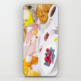 II - Table full with continental breakfast items, brightly lit iPhone Skin
