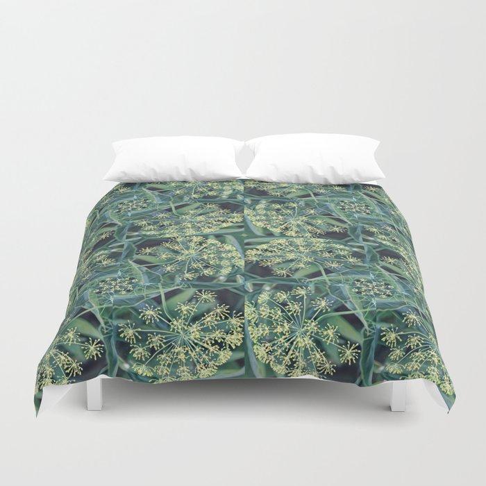 Green Herb Garden, Dill Flowers Duvet Cover