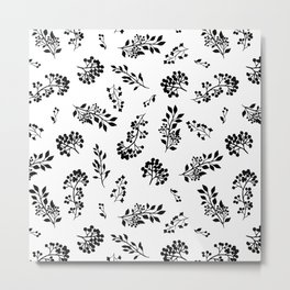 Black white abstract berries floral illustration Metal Print