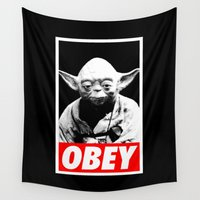 obey Wall Tapestries featuring Obey Yoda - Star Wars by Yiannis