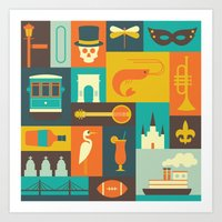 new orleans Art Prints featuring New Orleans by Ariel Wilson