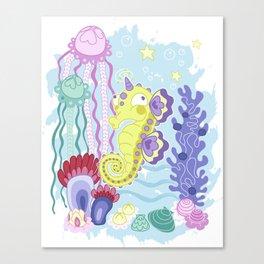 the Majestic Magical Seahorse Unicorn Canvas Print