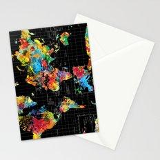 World Map Black - 1 Stationery Cards