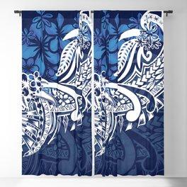 Blue Hawaiian - Samoan - Polynesian Tribal Tiare Print Blackout Curtain