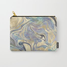 Liquid Gold Mermaid Sea Marble Carry-All Pouch
