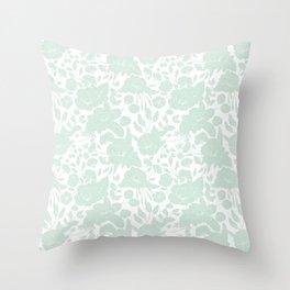 Vintage elegant pastel green white stylish floral Throw Pillow
