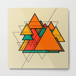 Retro Modern Triangles - Geometric Metal Print