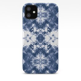 Shibori Tie Dye 4 Indigo Blue iPhone Case