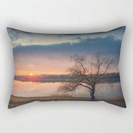 pup meets sunset Rectangular Pillow