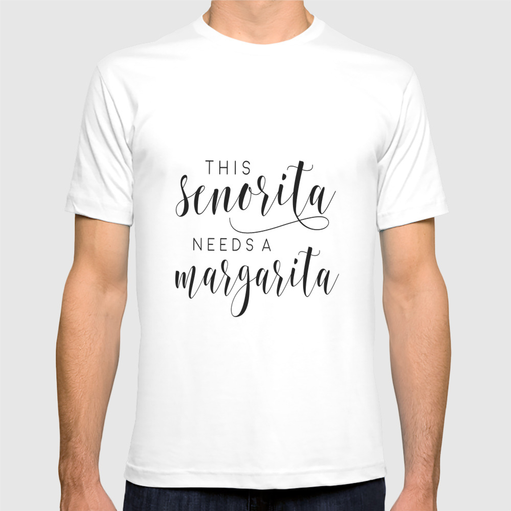 554d6583b6c BAR SIGN, This Senorita Needs A Margarita,Funny Bar Decor,Drink  Sign,Alcohol Quote,COCKTAIL Print T-shirt