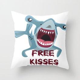 Free Kisses Hammerhead Cuddling Flirting Gift Throw Pillow