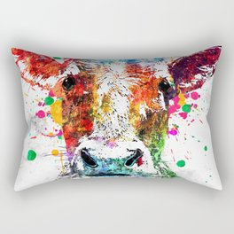 Cow Watercolor Grunge Rectangular Pillow