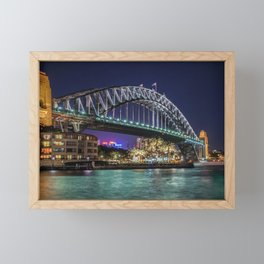 Sydney Harbor Bridge at Night Framed Mini Art Print