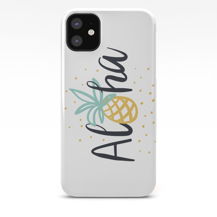 Aloha lettering and pineapple iPhone Case