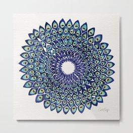 Peacock Mandala – Navy & Gold Metal Print