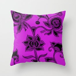 Vintage Floral Dazzling Violet Throw Pillow