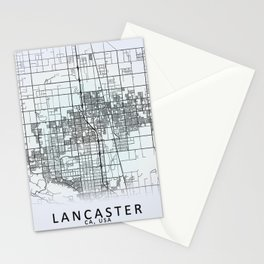 Lancaster CA USA White City Map Stationery Cards