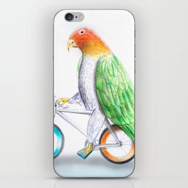 Happy Parrot and his bike iPhone Skin