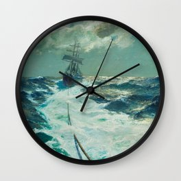 Under Tow on a Moonlit Night nautical landscape ocean painting by Julius Olsson Wall Clock