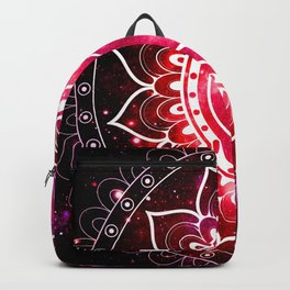 Ohm Mandala : Galaxy Mandala Red Fuchsia Pink Backpack