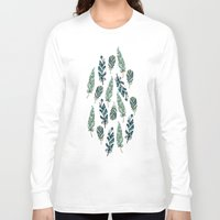 feathers Long Sleeve T-shirts featuring Feathers by Julia Badeeva