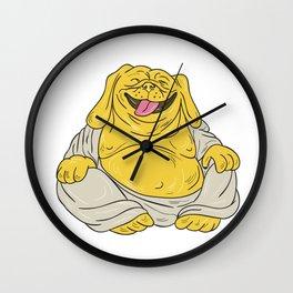 Laughing Bulldog Buddha Sitting Cartoon Wall Clock
